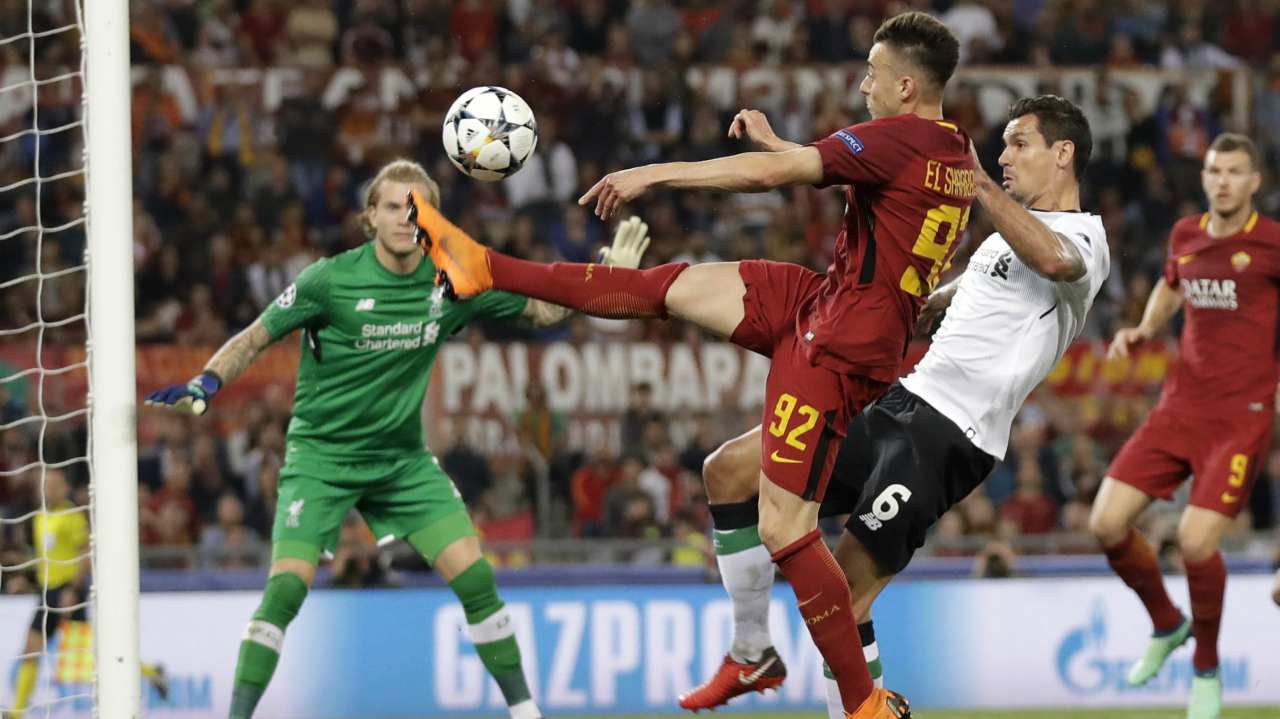 Roma's Stephan El Shaarawy, center, fights for the ball with Liverpool's Dejan Lovren during the Champions League semifinal second leg soccer match between Roma and Liverpool at the Olympic Stadium in Rome. (AP/PTI)
