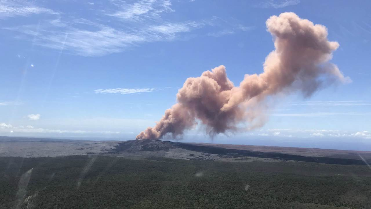In this photo provided by the US Geological Survey, red ash rises from the Puu Oo vent on Hawaii's Kilauea Volcano after a magnitude-5.0 earthquake struck the Big Island in Hawaii Volcanoes National Park. (AP/PTI)