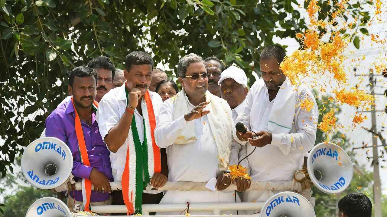 Chamundeshwari: Karnataka Chief Minister Siddaramaiah during a campaign at Chamundeshwari in Karnataka on April 25 2018.