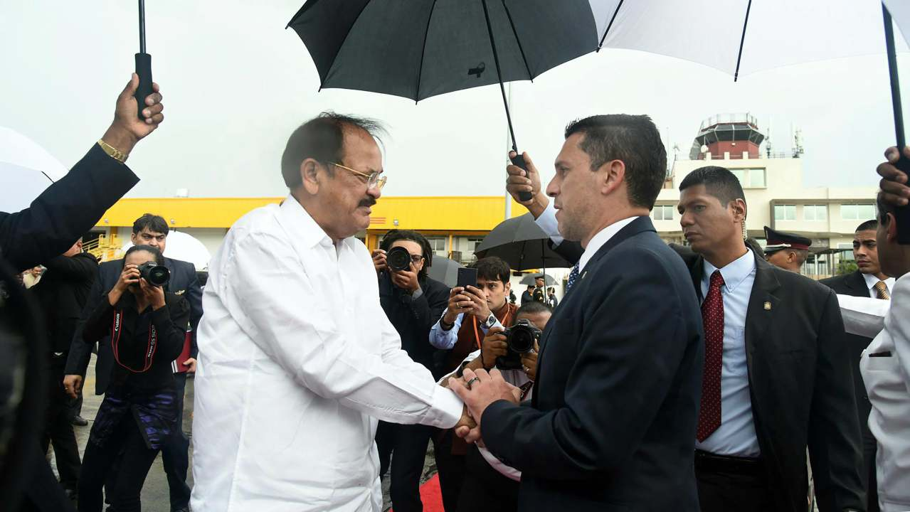 Vice President M Venkaiah Naidu being bid farewell by the Panamanian Vice Minister of Foreign Affairs Luis Miguel Hincapie, on his departure, in Panama. (PTI)