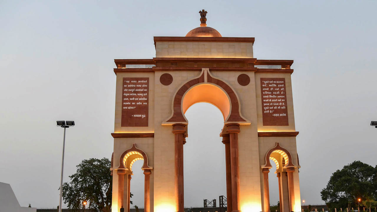 A view of the southern facade of the 'Sabhyata Dwar', a ceremonial gateway built in the premises of the Samrat Ashok International Convention Center on the banks of Ganga in Patna on Sunday, a day before its inauguration. (PTI)