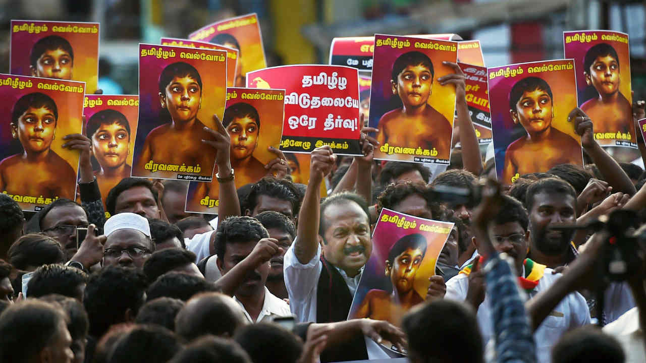 Pro-Tamil outfits take part in a rally in Chennai to mark the 9th anniversary of the killing of Tamilians in the 2009 civil war in Sri Lanka, in Chennai. (PTI)