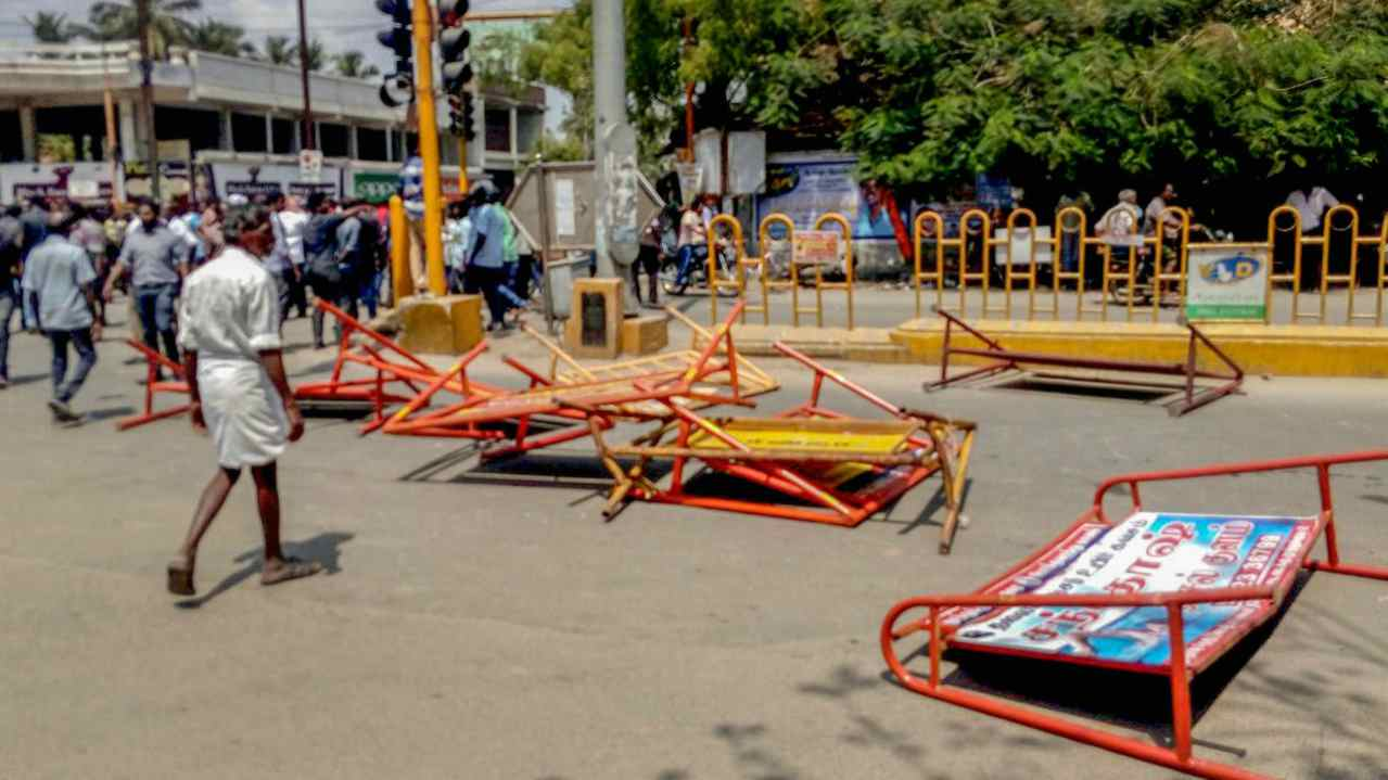 Barricades lie strewn after a violent protest demanding closure of Vedanta's Sterlite Copper unit entered its 100th day, in Tuticorin, on Tuesday. The police opening fire in which at least one man was killed. (PTI)