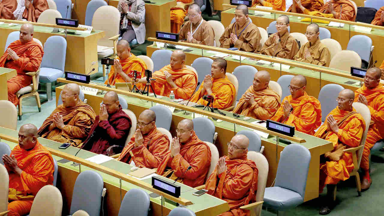 Buddhist monks recite inaugural hymn during the commemoration of International Day of Vesak at the UN General Assembly in New York. (PTI)