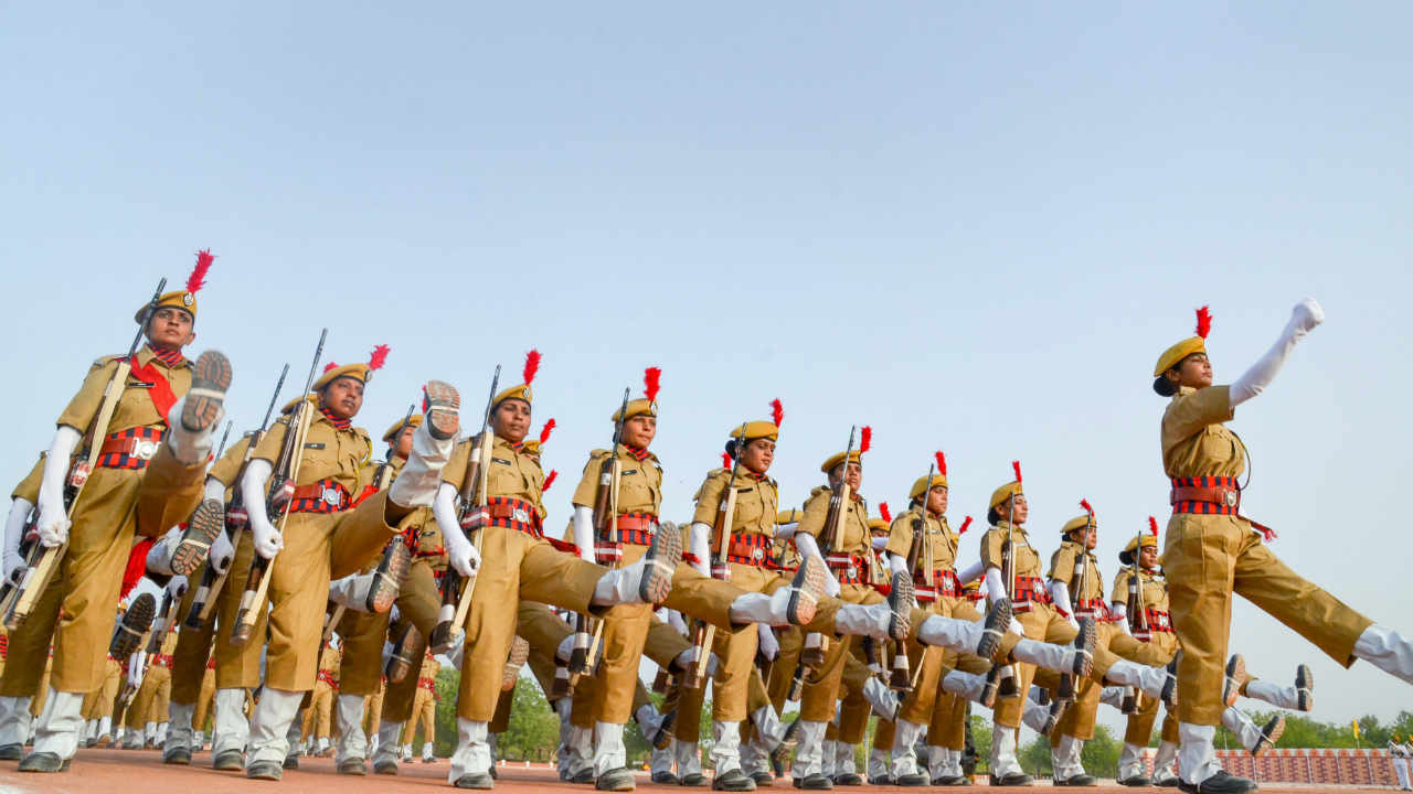 Police recruits march past during a passing out parade at Rajasthan Police Training Centre in Jodhpur. (PTI)