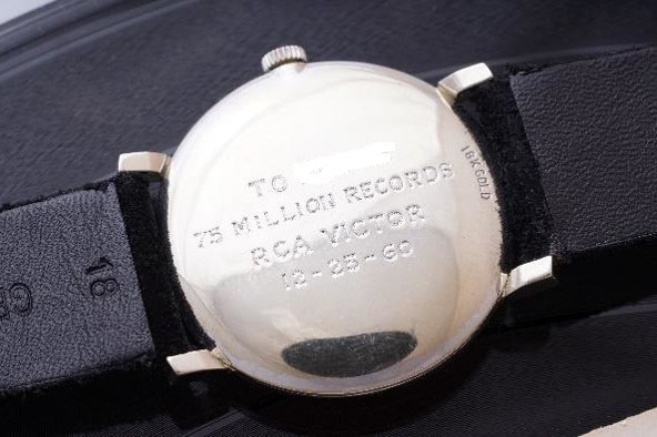 The watch was presented to this musical genius by RCA Records executives in commemoration of his 75 millionth record sale. It features an 18K white gold case encrusted with 44 diamonds in its bezel. Originally retailed by Tiffany & Co. it carries a custom inscription commissioned by RCA. Who owned this watch?