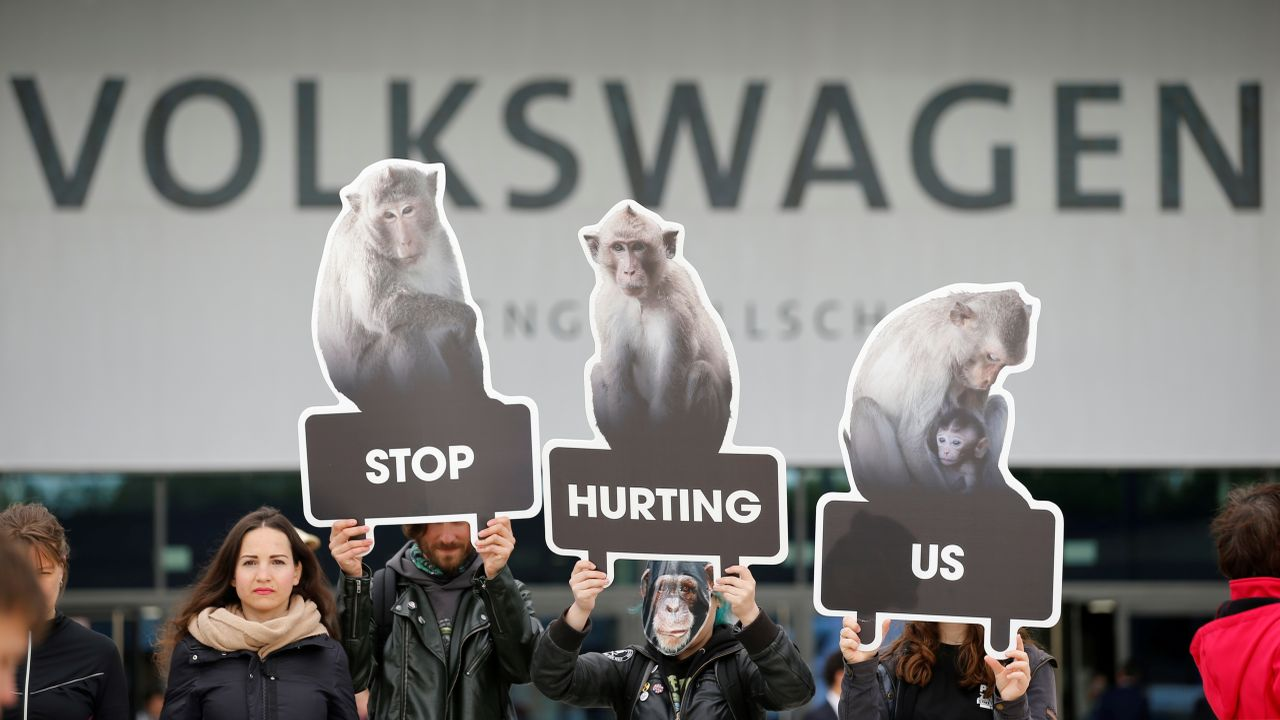 Activists from People for the Ethical Treatment of Animals (PETA) demonstrate during the Volkswagen Group's annual general meeting in Berlin. (Reuters)