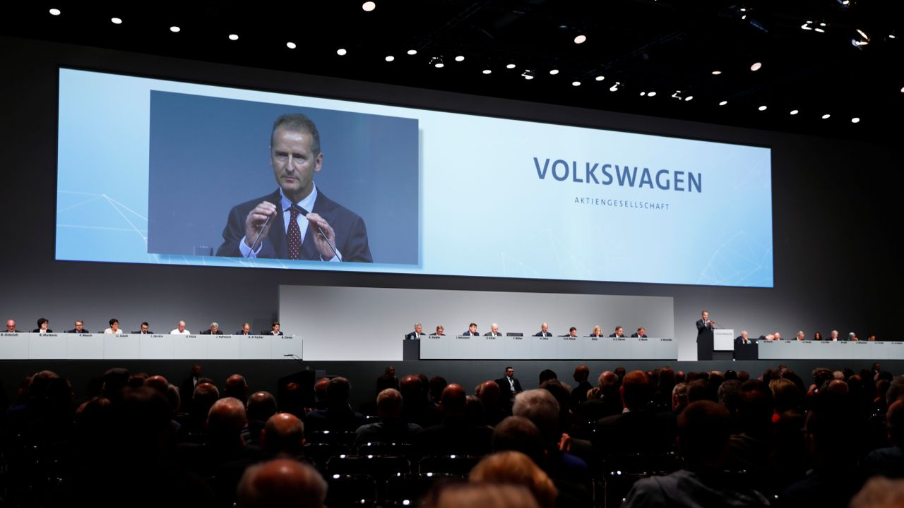 Herbert Diess, Volkswagen's new CEO, speaks during the Volkswagen Group's annual general meeting in Berlin, Germany. (Reuters)