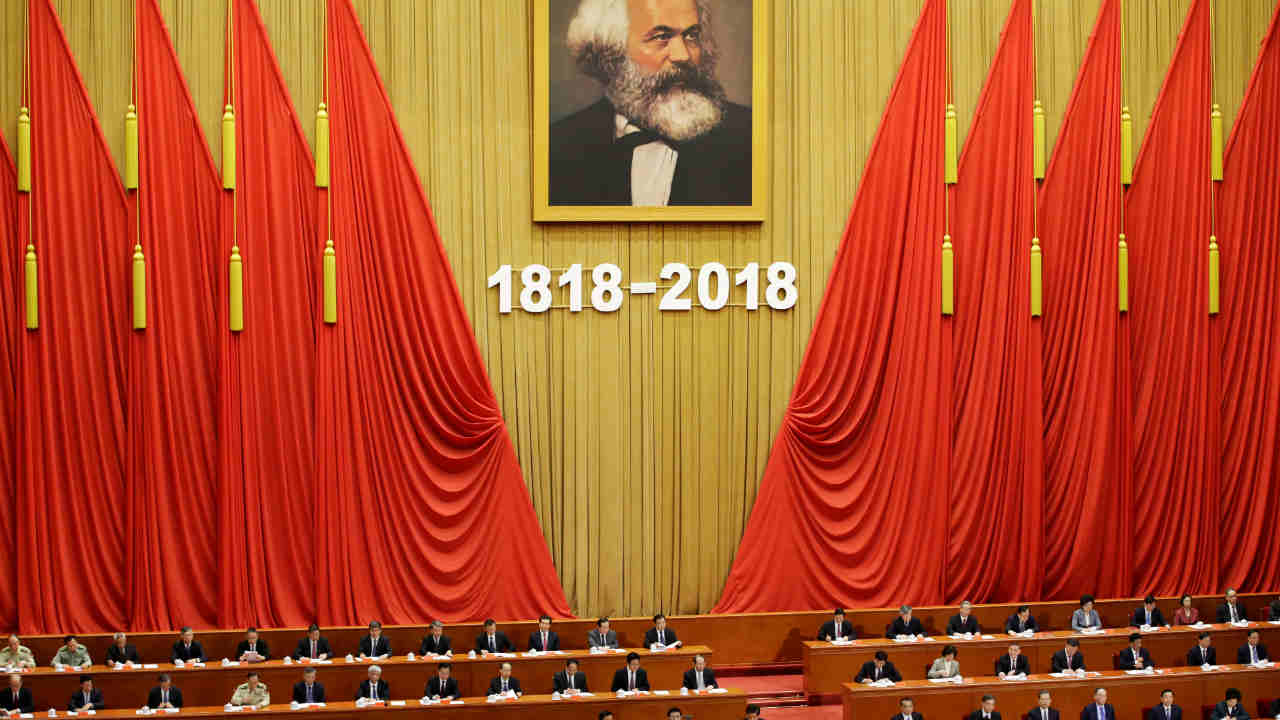 """Chinese President Xi Jinping speaks at an event commemorating the 200th birth anniversary of Karl Marx, in Beijing, China. Xi Jinping called praised Karl Marx as """"the greatest thinker of modern times,"""" calling his theories a tool for China to """"win the future. (REUTERS)"""