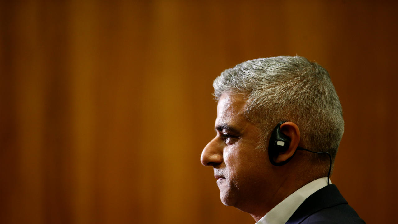 Mayor of London Sadiq Khan visits Wandsworth Town Hall after local government elections in London, Britain. (REUTERS)
