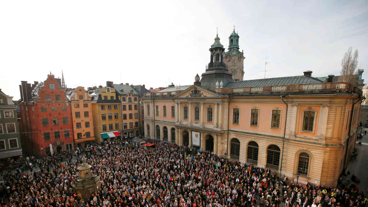Participants in a manifestation show their support for former Academy member and Permanent Secretary Sara Danius who stepped down last week, in Stortorget square in Stockholm, Sweden. (REUTERS)