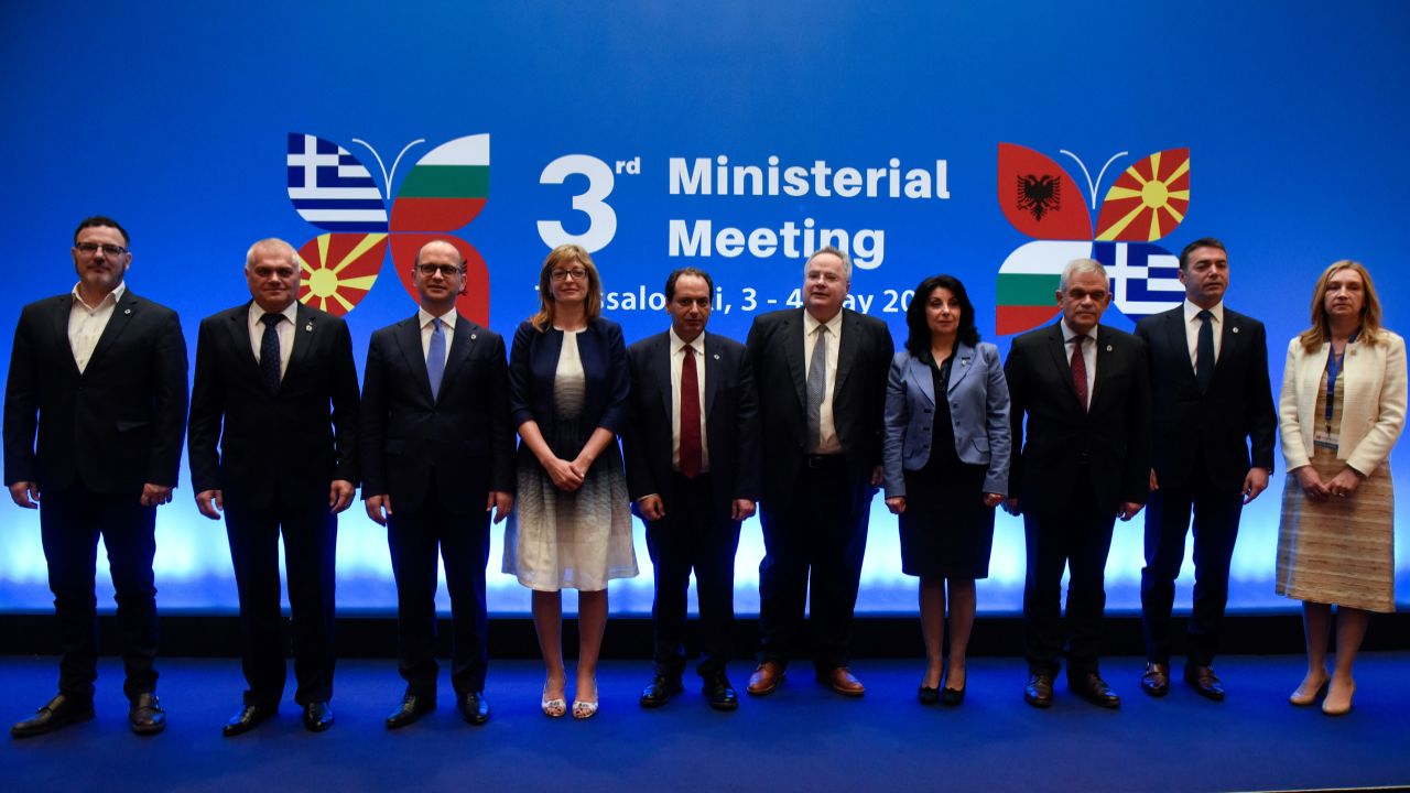 Ministers gather for a group photo during the 3rd Ministerial Meeting between Greece, Albania, Bulgaria and Macedonia in Thessaloniki, Greece. (Reuters)
