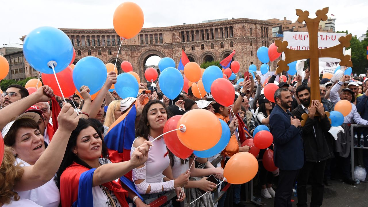 Supporters of Armenian protest leader Nikol Pashinyan gather in Republic Square as parliament holds a session to elect a new prime minister in Yerevan, Armenia. (Reuters)