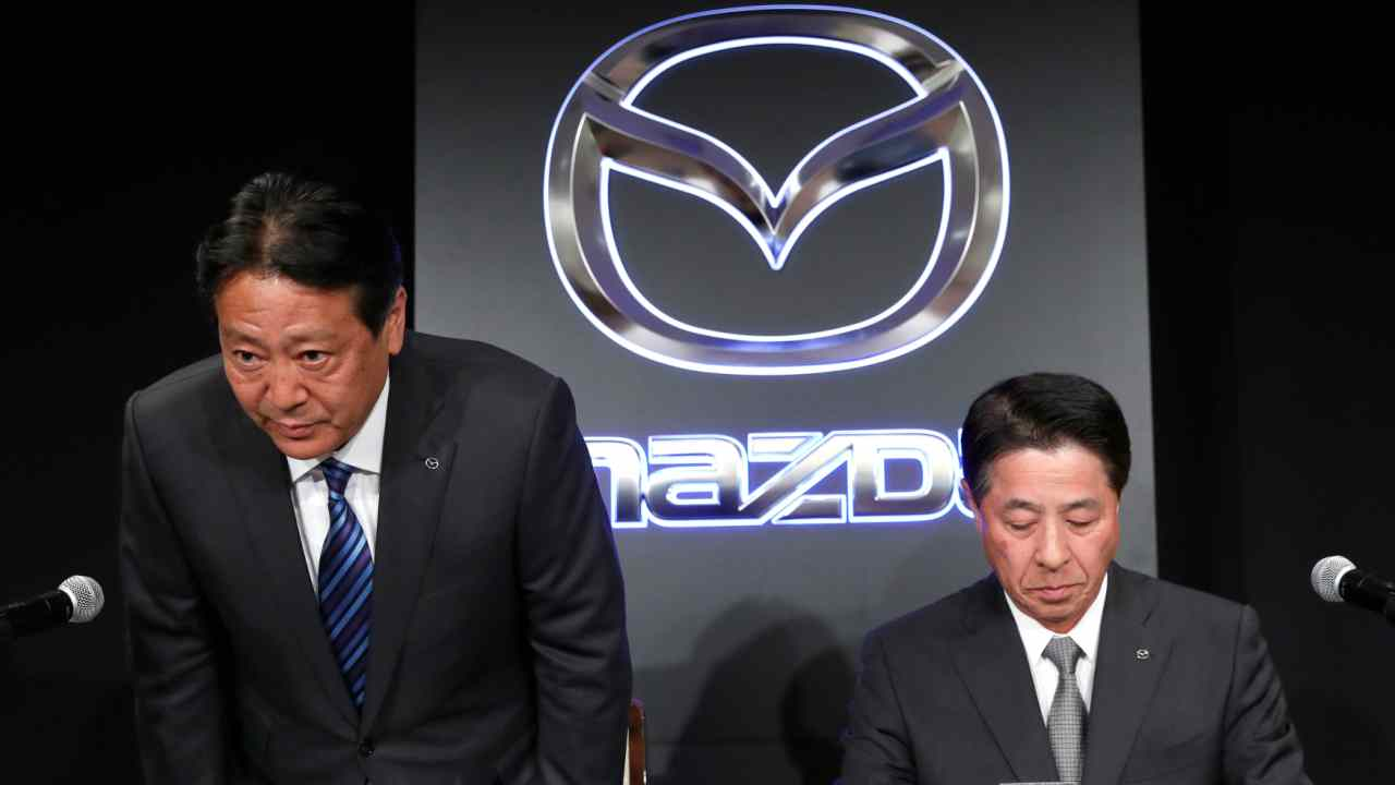 Mazda Motor Corp. outgoing President Masamichi Kogai and next president Akira Marumoto attend a news conference in Tokyo, Japan. (Reuters)