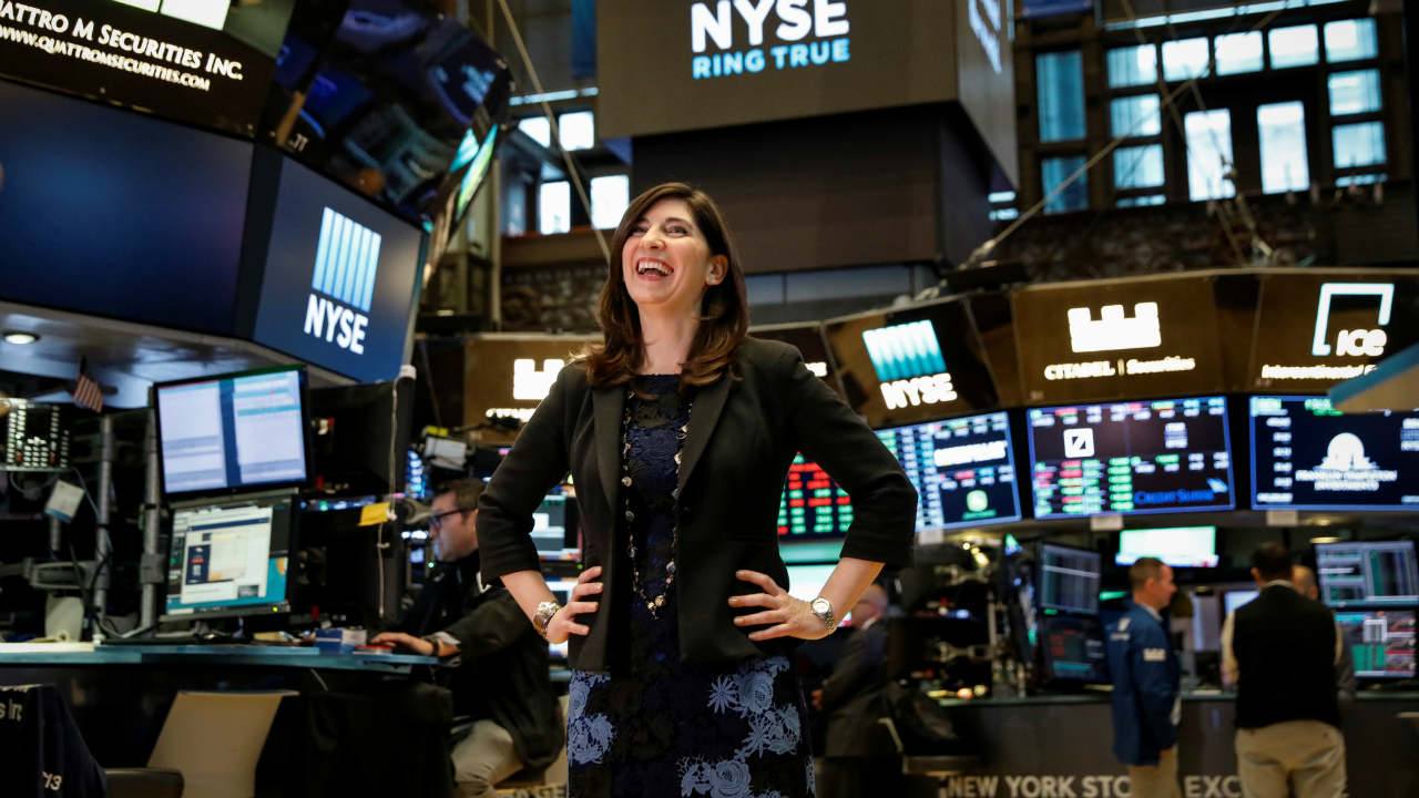 NYSE Chief Operating Officer Stacey Cunningham, who will be the New York Stock Exchange's (NYSE) first female president, poses on the floor of the NYSE in New York, US. (Reuters)