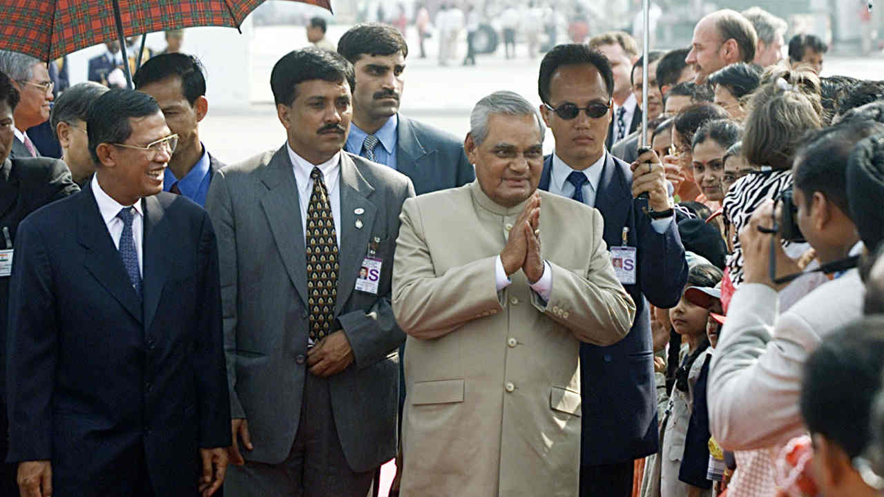 Atal Bihari Vajpayee was born on December 25, 1924, into a middle-class family in Gwalior to Krishna Bihari Vajpayee- a school teacher and poet and Krishna Devi. He graduated from Victoria College with distinction in Hindi, English, and Sanskrit and earned his M.A. in Political science from DAV College, Kanpur. (Pictured - Vajpayee alongwith former Cambodianprime minister Hun Sen in 2002 during an official three-day visit to Cambodia. (Image: Reuters)