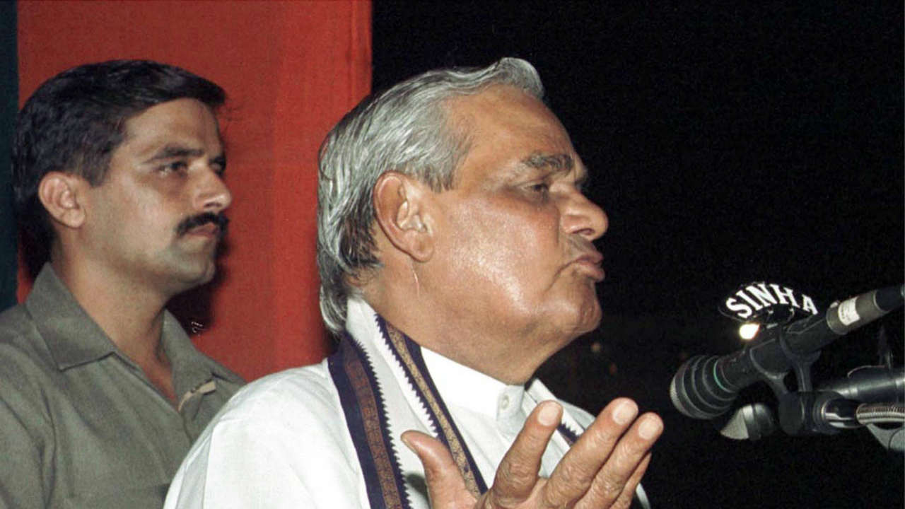 Vajpayee, who never married, has an adopted daughter Namita Bhattacharya. (Pictured - Vajpayee is seen here giving a campaign speech in Calcutta in 1999. Image: Reuters)