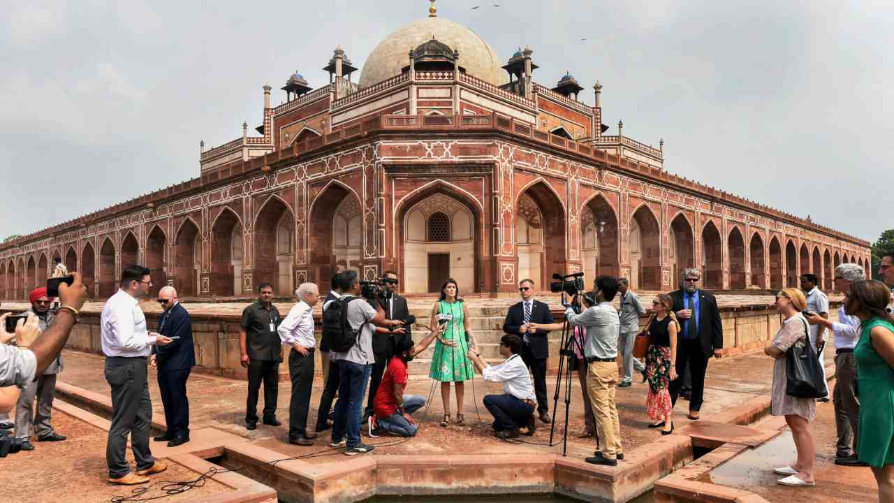 US envoy to the UN Nikky Haley talks to the media during a visit to Humayun's Tomb in New Delhi. (PTI)