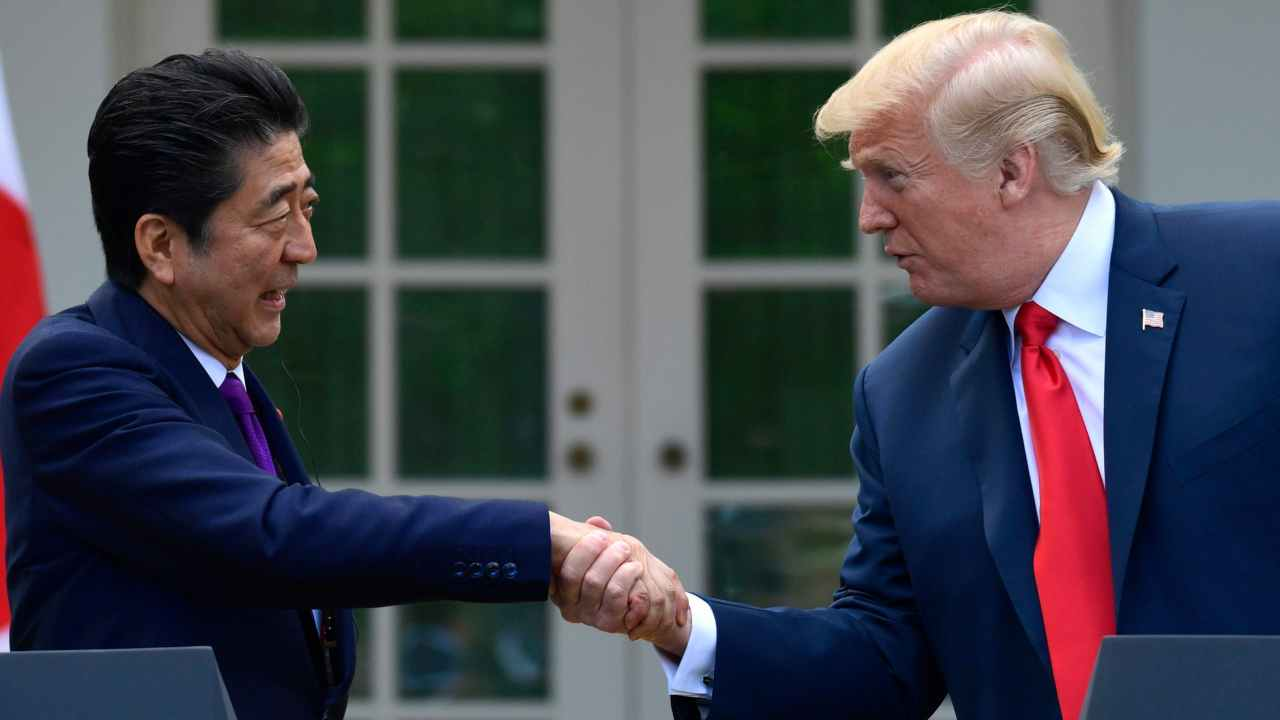 President Donald Trump and Japanese Prime Minister Shinzo Abe shake hands during a news conference in the Rose Garden of the White House in Washington. (AP/PTI)