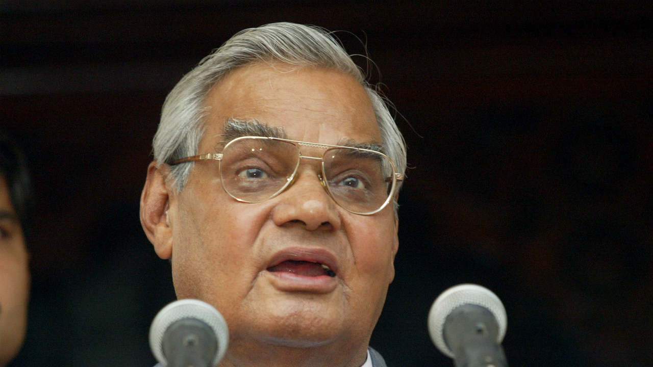 Inspired by Babasaheb Apte, Vajpayee joined the Rashtriya Swayamsevak Sangh (RSS) and eventually became a full-time worker for the Hindu nationalist organisation after giving up studies in law. He later joined erstwhile Bharatiya Jana Sangh (BJS) and was elected to the Lok Sabha for the first time from Balrampur (UP) in 1957. (Pictured - Vajpayee addressing a news conference in Shantiniketan in 2004. He was the university's chancellor, at the time. Image: Reuters)