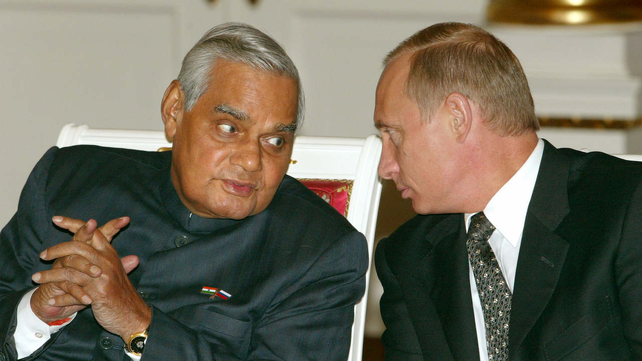 Vajpayee received the Bharat Ratna — the country's highest civilian honour — in 2015. (Pictured) He is seen here with Russian President Vladimir Putin at a ceremony in Kremlin, Moscow, in 2003. (Image: Reuters)