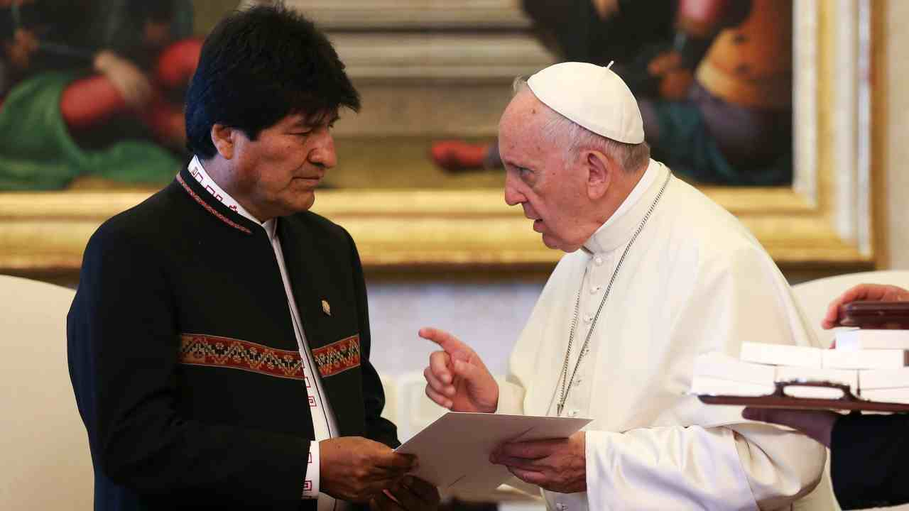 Pope Francis meets President of Bolivia Evo Morales during a private audience at the Vatican. (AP/PTI)
