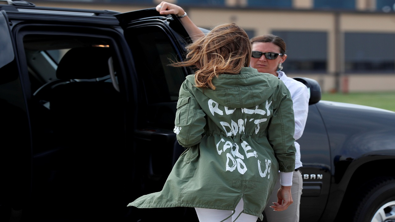 "US First Lady Melania Trump walks to her motorcade wearing a Zara design jacket with the phrase ""I Really Don't Care. Do U?"" written on it as she returns to Washington after a visit to the US-Mexico border area in Texas, at Joint Base Andrews, Maryland, US. (Image: Reuters)"