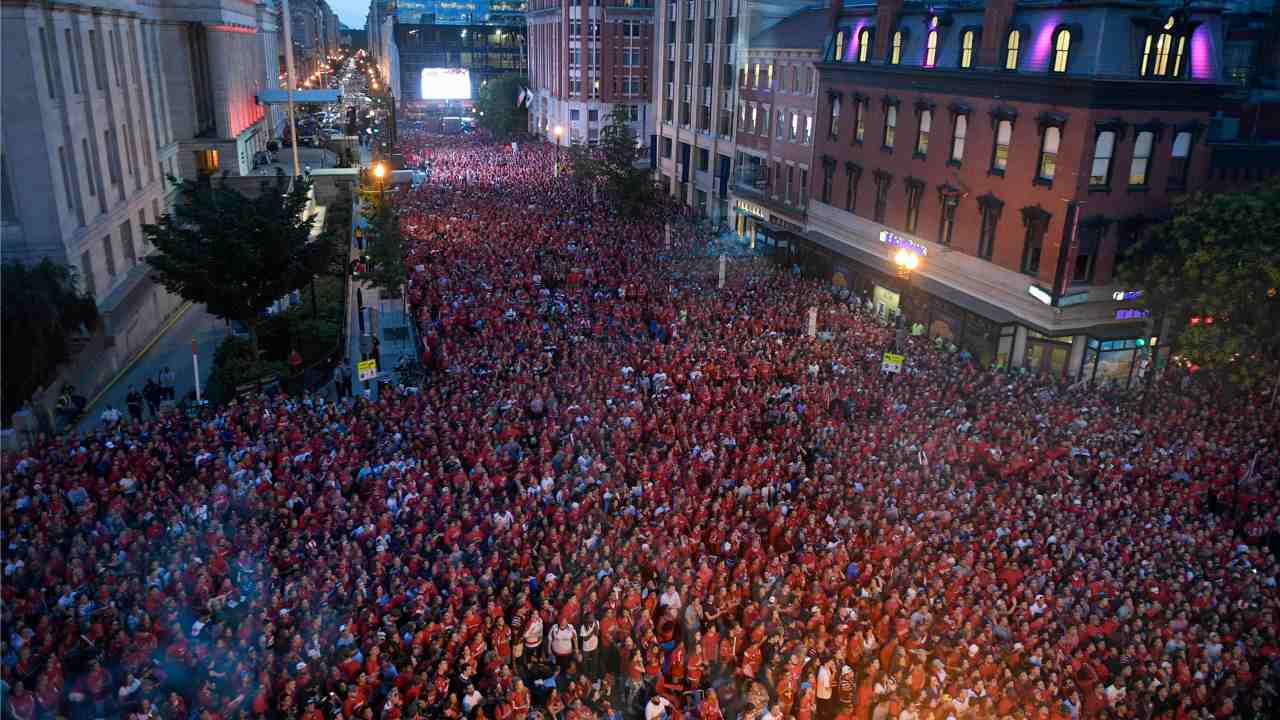Fans gather outside Capital One Arena at a viewing party for Game 5 of the NHL hockey Stanley Cup Finals between the Washington Capitals and the Vegas Golden Knights, in Washington. (AP/PTI)