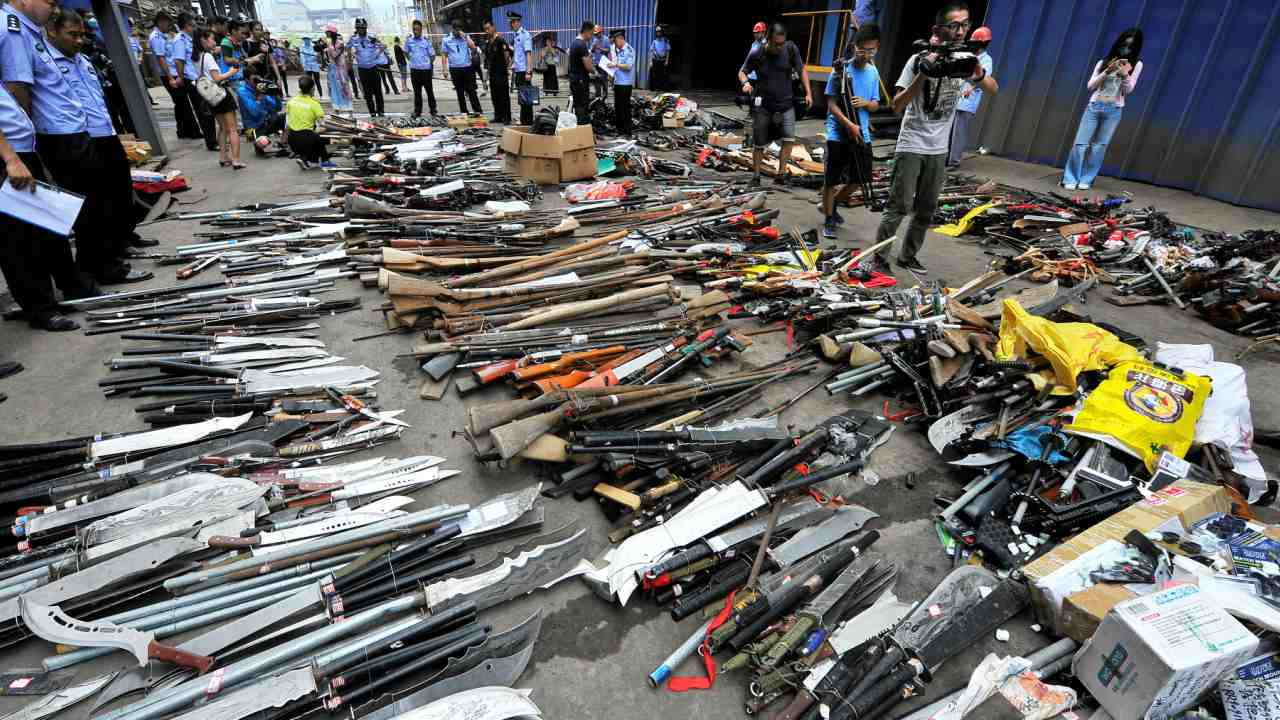 China | 4.97 crore | The world's most populous country has comparatively very low civilian firearms concentration. With just 3.6 firearms per 100 persons, it has 6.8 lakh registered and 4.9 crore unregistered firearms. (Illegal weapons captured by local authorities and discarded legal guns are displayed before being destroyed in Fujian; Reuters)