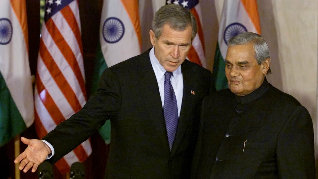 Vajpayee retired from public life after the BJP-led National Democratic Alliance (NDA) lost the 2004 Lok Sabha elections. His health deteriorated over the years, leaving him confined to his residence. (Pictured - He is seen here with US president George W. Bush at the White House in 2001. Image: Reuters)