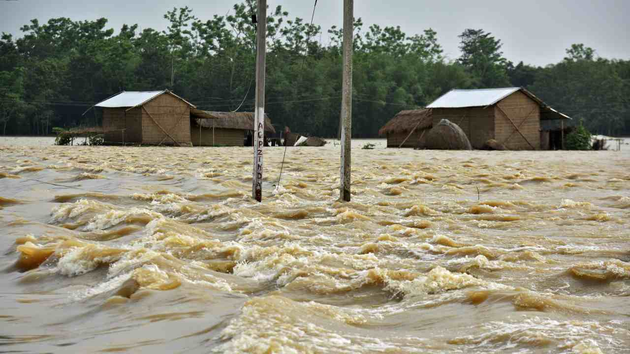 Partially submerged houses are seen at a flood-affected village in Hojai district, in the northeastern state of Assam, India. (Reuters)