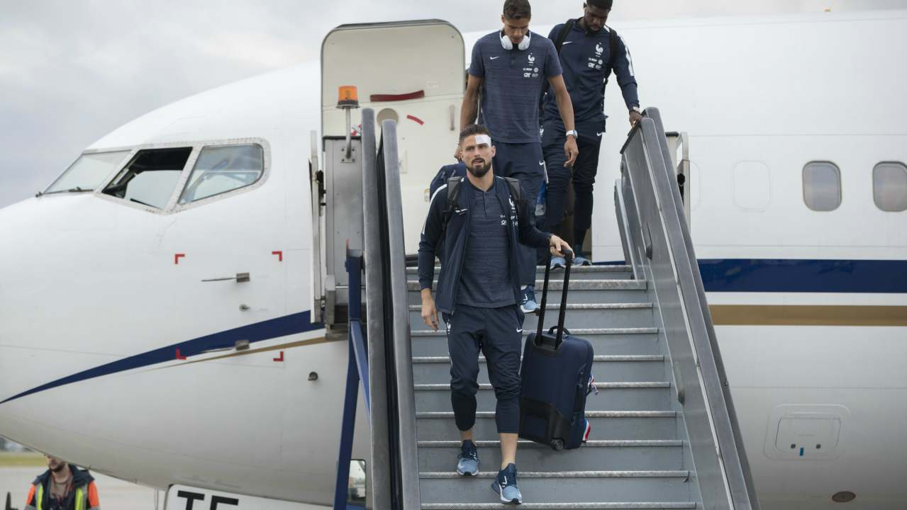 Olivier Giroud, foreground and his teammates disembark the plane as the France national soccer team arrive at the Sheremetyevo international airport, outside Moscow, Russia, to compete in the 2018 World Cup in Russia. The 21st World Cup begins on Thursday, June 14, 2018, when host Russia takes on Saudi Arabia. (AP/PTI)