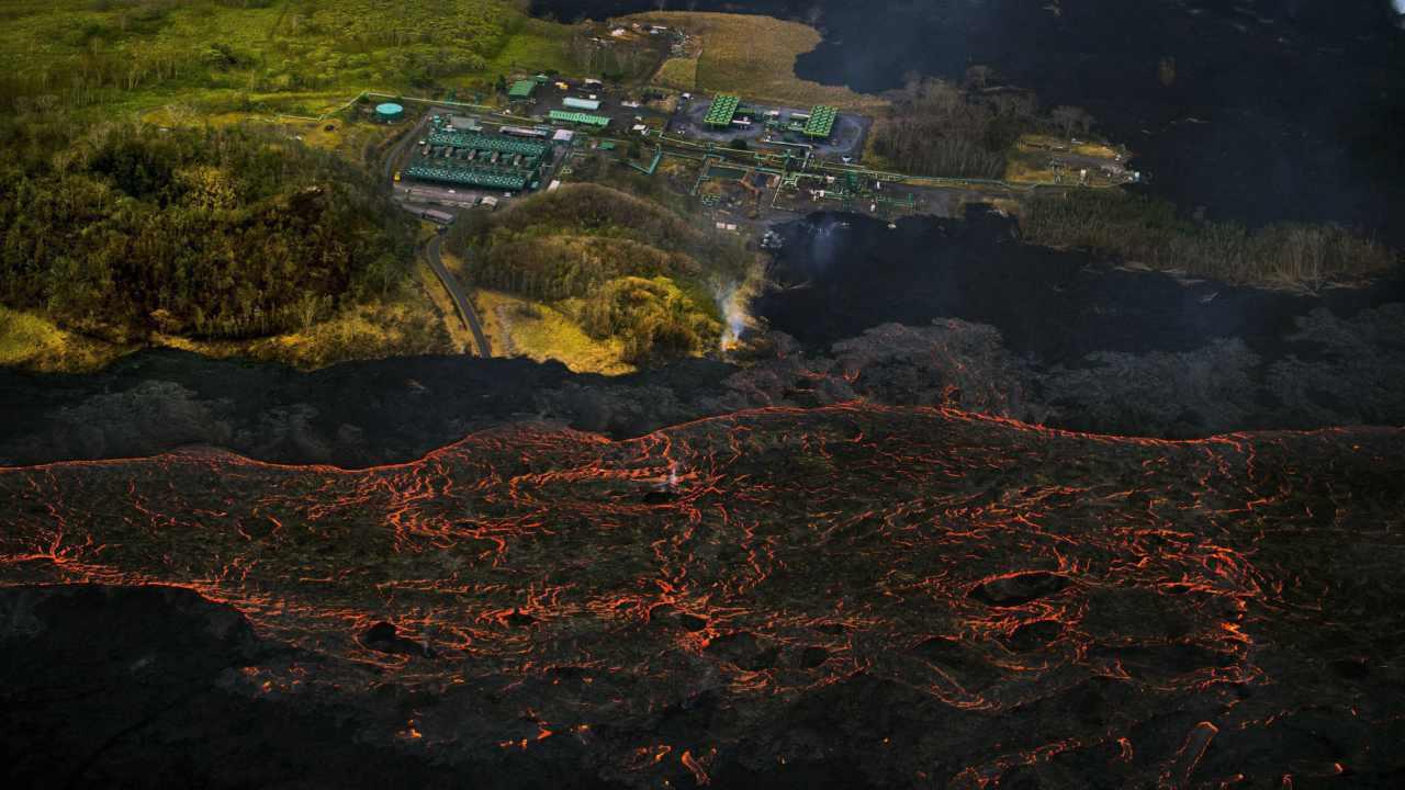 Lava from the Kilauea volcano flows near the Puna Geothermal Venture power plant in Pahoa, Hawaii. (AP/PTI)