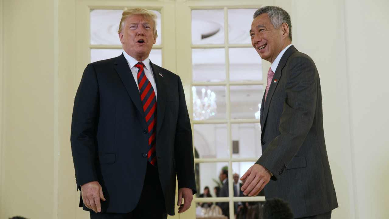 President Donald Trump speaks as he meets with Singapore Prime Minister Lee Hsien Loong ahead of a summit with North Korean leader Kim Jong Un, Monday, June 11, 2018, in Singapore. (AP/PTI)