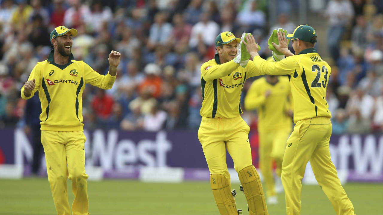 Australia's D'Arcy Short celebrates with Tim Paine after taking the catch to dismiss England's Joe Root during the One Day International match at the SSE SWALEC Stadium at Cardiff (AP/ PTI)