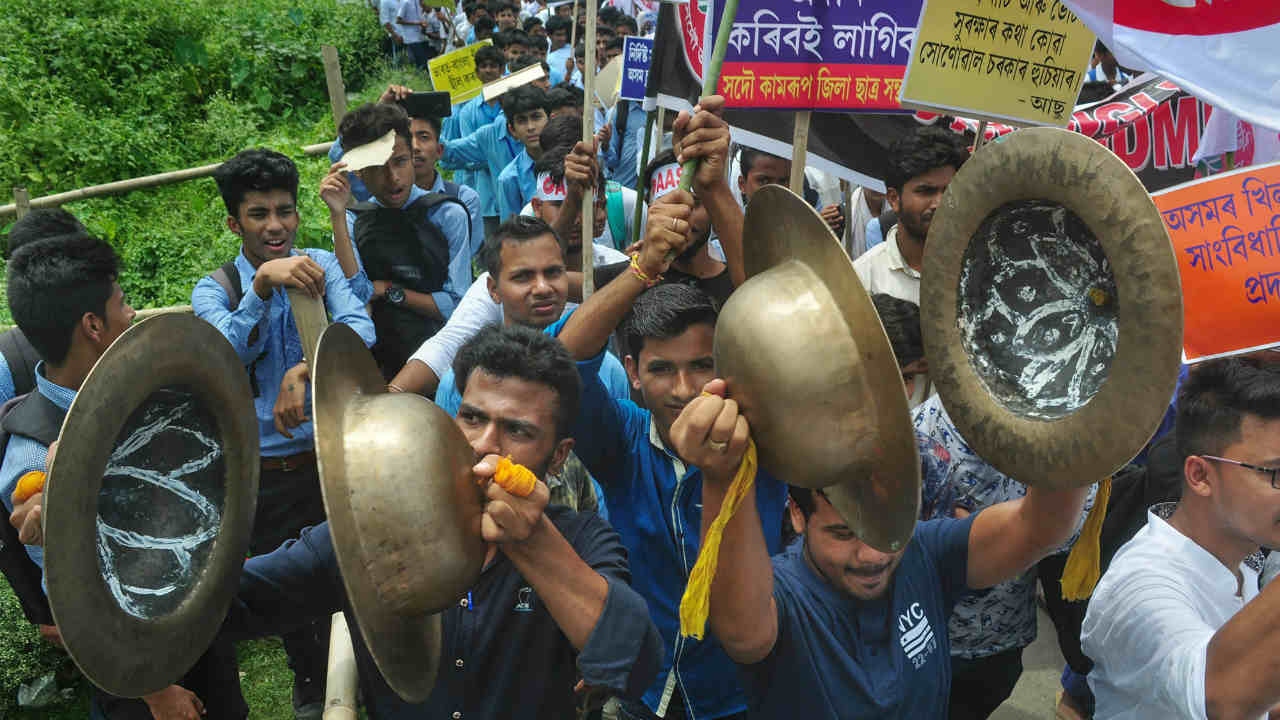 Activists of All Assam Students Union (AASU) takes out a protest rally against the Citizenship Amendment Bill 2018, in Guwahati. (Image: PTI)