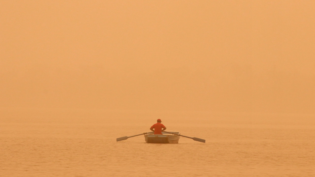 A man rows a boat amidst haze and dust in the waters of Sukhna lake in Chandigarh. (Image: Reuters)