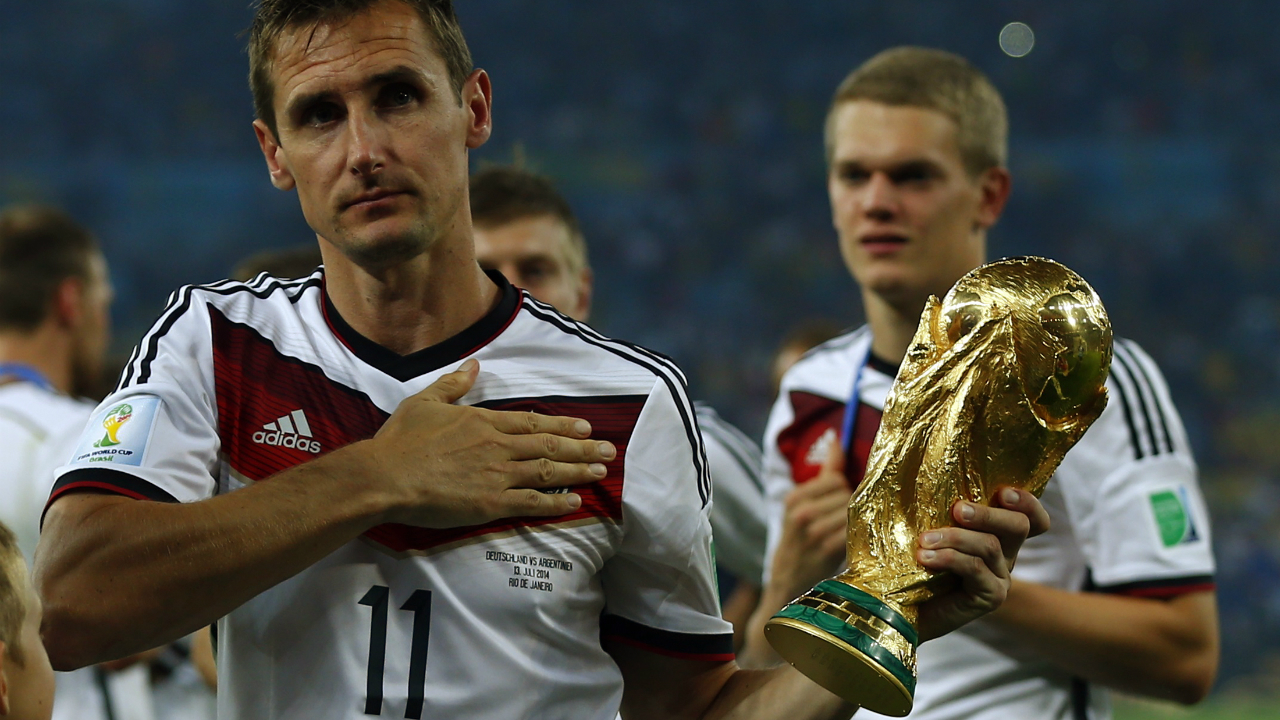 Germany's Miroslav Klose is the all-time highest goal scorer in the tournament with 16 goals from 24 matches. Klose was part of Germany's squad in 2002, 2006, 2010 and 2014.