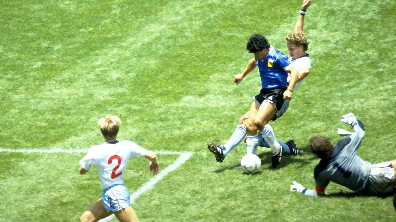 "Maradona's 'Hand of God' (Mexico 1986) | Facing England in the quarterfinals in 1986, Maradona leapt high and punched an aerial ball past England keeper Peter Shilton to open the scoring for Argentina. What's more incredulous is that Maradona followed that up by scoring a brilliant solo goal which many consider as the 'Goal of the Century'. Maradona himself gave his first goal its infamous name by commenting after the game that the ball had gone in, ""a little with the head of Maradona and a little with the hand of God""."