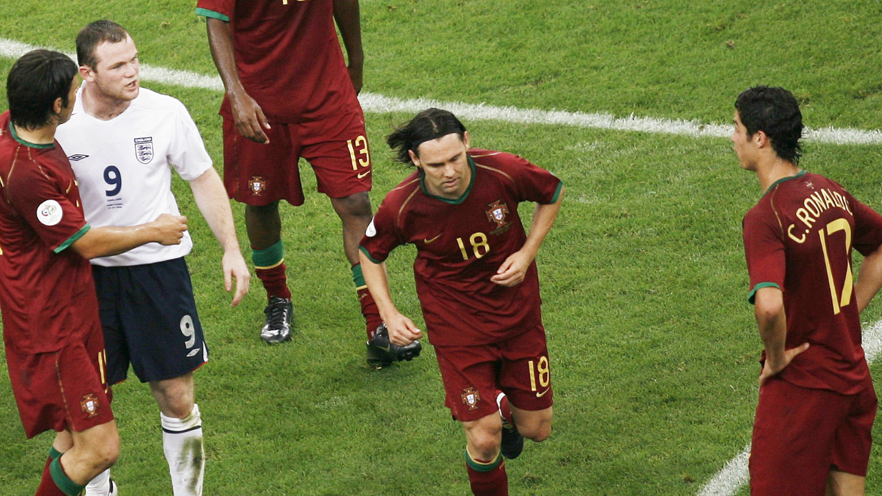 Ronaldo the instigator (Germany 2006) | Ronaldo and Rooney were Manchester United teammates back in 2006 when Portugal were playing England in the quarterfinals. Rooney looked to have stamped on Ricardo Carvalho and Ronaldo immediately intervened begging the referee to take action. Ronaldo's incessant protests led to Rooney pushing the Portuguese ace in the chest which the referee spotted and immediately sent off Rooney. Ronaldo courted further controversy as he was pictured winking at the Portuguese bench following the incident.