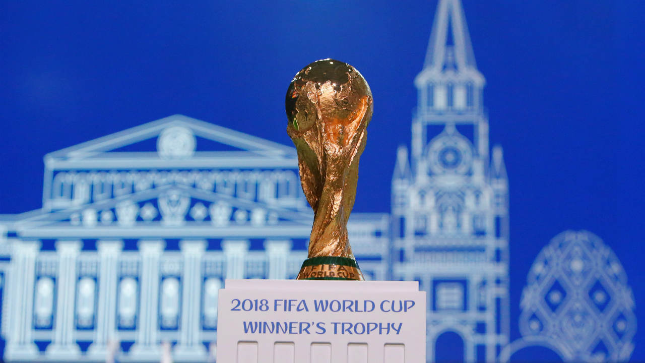 The 2018 FIFA World Cup Winner's Trophy is on display before the 68th FIFA Congress in Moscow. (Image: Reuters)