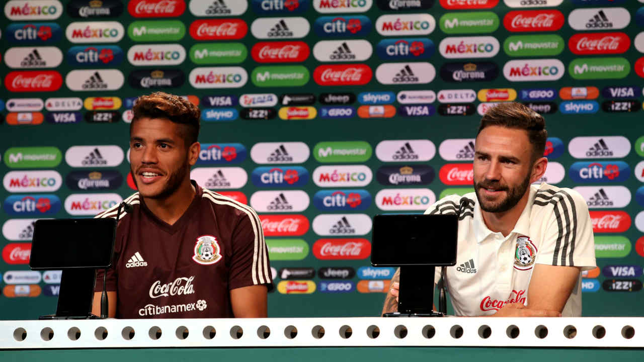Mexico's Jonathan dos Santos and Miguel Layun during the press conference after defeating Germany. (Image: Reuters)
