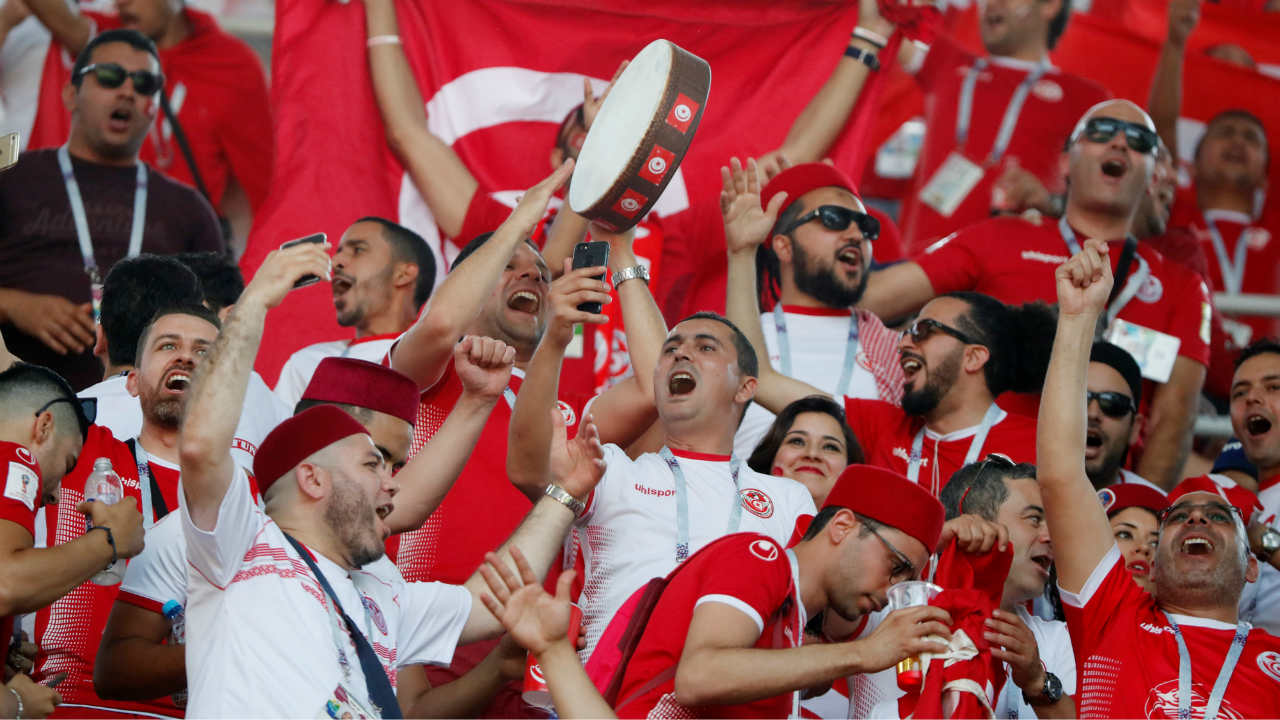 Football World Cup - Belgium vs Tunisia - Tunisia fans inside the stadium before the match at Spartak Stadium, Moscow, Russia. (Photo: Reuters)