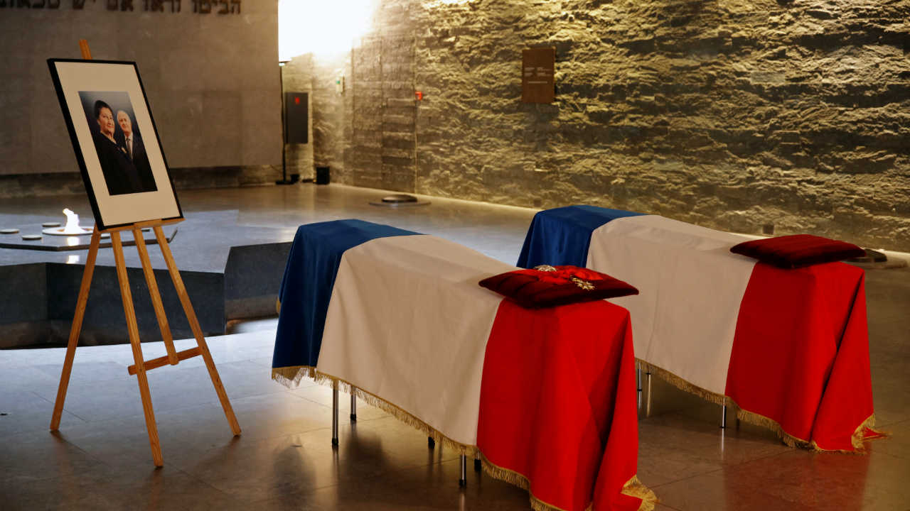 The coffins of late Auschwitz survivor and French health minister Simone Veil and her late husband Antoine Veil are displayed in the crypt at the Memorial de la Shoah in Paris, France, two days before a national tribute when they will be laid to rest in the crypt of the Pantheon mausoleum alongside other national icons. (Image: Reuters)