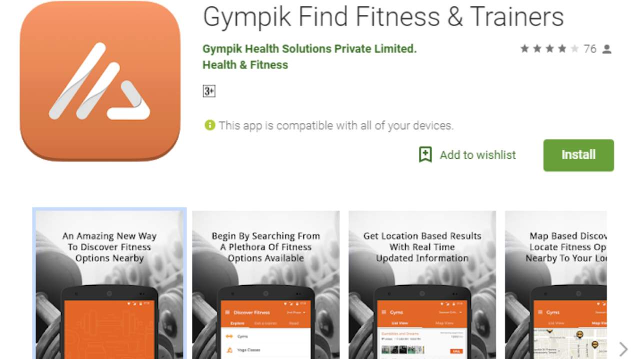 Gympik | Android & iOS | Gympik helps you to connect to more than 12,000+ fitness and wellness centres across India. You can find gym membership at best prices in major cities like Bangalore, Mumbai, Delhi, Kolkata, Chennai, Hyderabad, Pune etc. through this app.