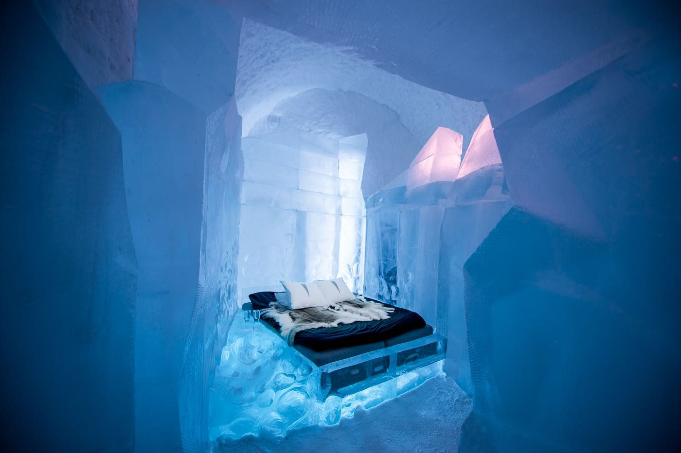 Dare to stay at Icehotel?: The Icehotel in Lapland is carved from 1,600 tonnes of snow and ice, and the hotel consists of 16 artist-designed suites, a bar and theatre. From beds to sofas, the hotel is an ice explosion and the cost of one room can start from $217 per night. Lapland lights up during Finland's Independence Day and tourists, wrapped in reindeer fur, chase Northern Lights, opt for yoga on the ice, and gorge on reindeer, cloudberries, beef and fish. (Image: Icehotel)