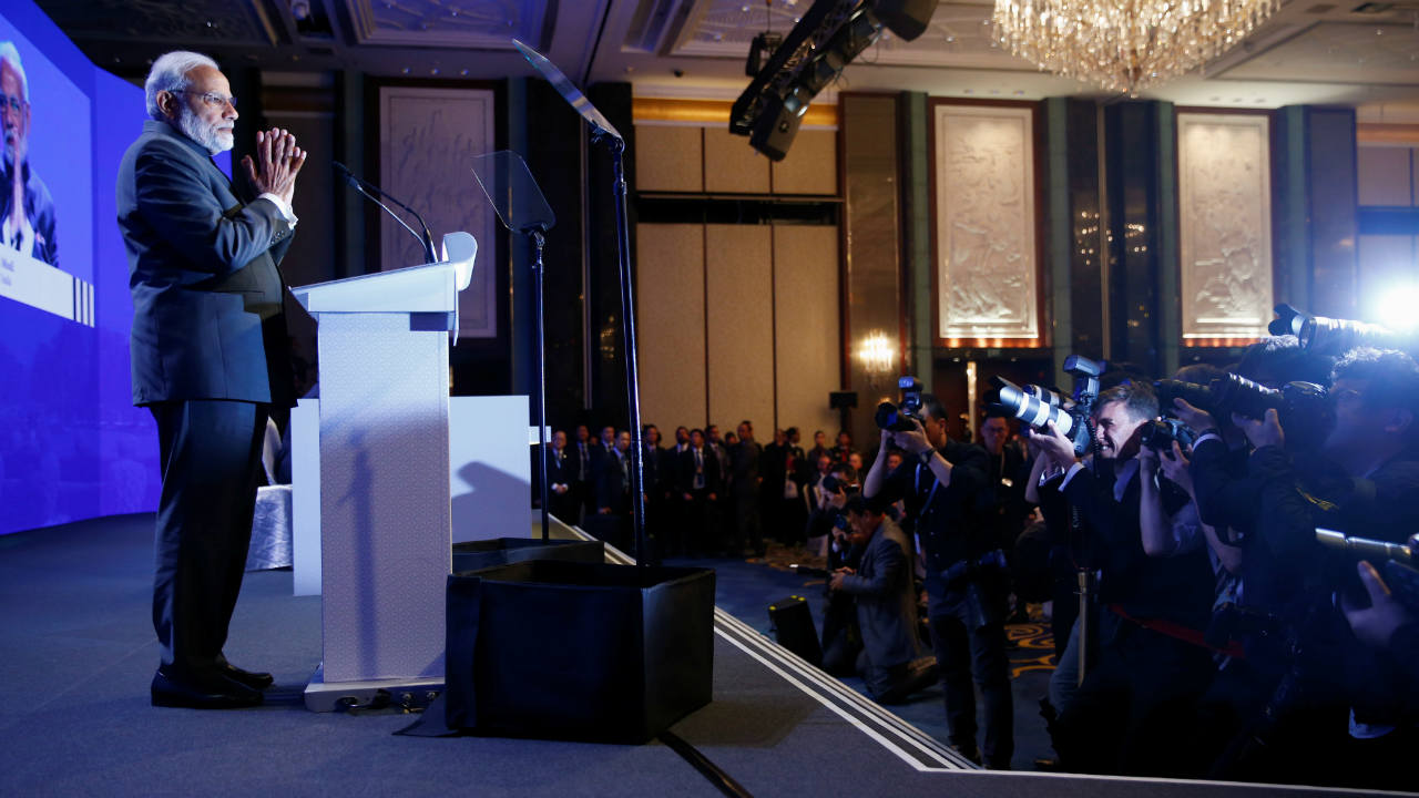 Narendra Modi greets before delivering the keynote address at the IISS Shangri-la Dialogue in Singapore. (Photo: Reuters)