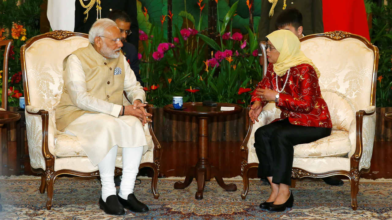 Narendra Modi meets with Singapore's President Halimah Yacob at the Istana in Singapore. (Photo: Reuters)