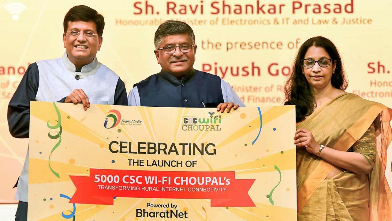 IT Minister Ravi Shankar Prasad (C) with Railway Minister Piyush Goyal and Telecom Secretary Aruna Sundarajan launch '5000 CSC WiFi Choupal', in New Delhi on Monday. (PTI)