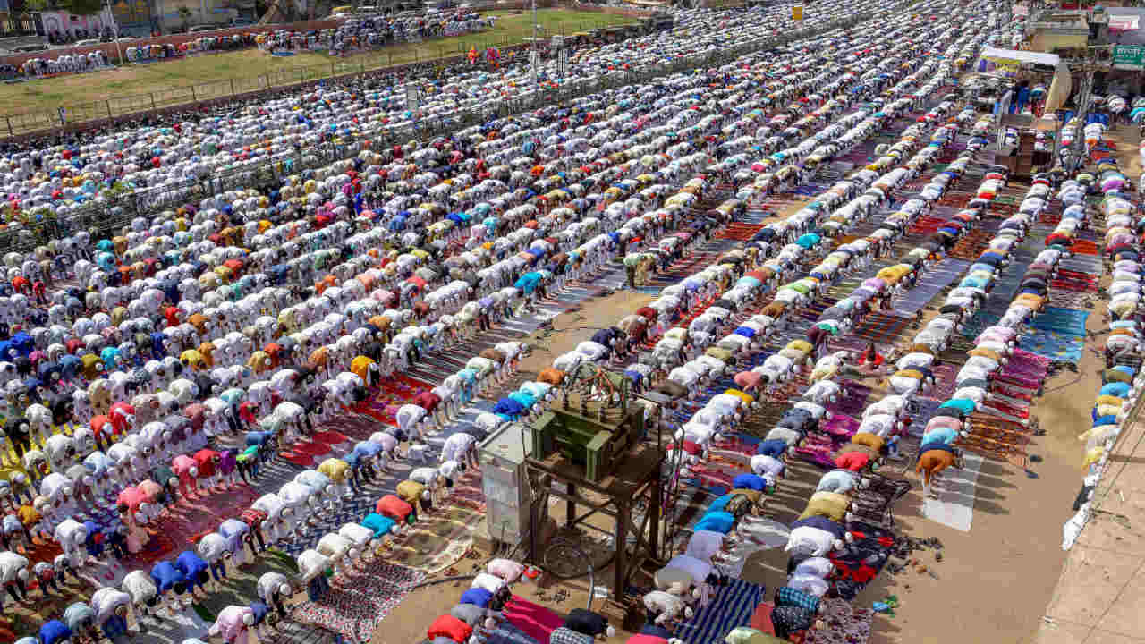 Muslims offer Eid-al-Fitr prayers at a school ground, in Jaipur. (PTI)